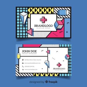 Sjabloon voor visitekaartjes in memphis stijl