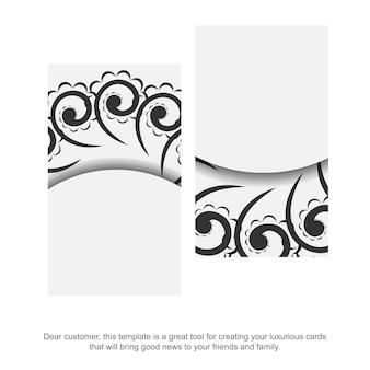 Sjabloon voor visitekaartjes in witte kleur met zwart grieks patroon