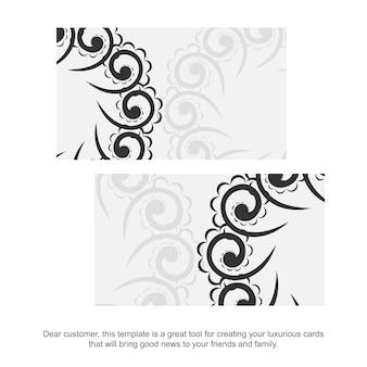 Sjabloon voor visitekaartjes in witte kleur met zwart indiaas patroon