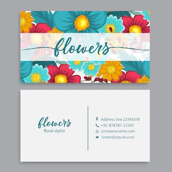 Sjabloon voor visitekaartjes instellen met aquarel bloemen