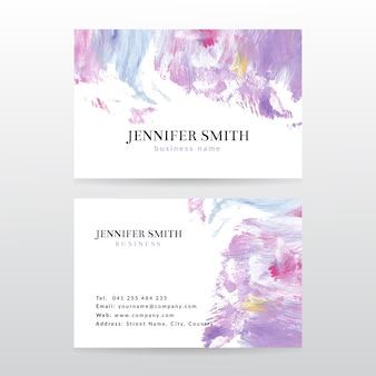 Sjabloon voor visitekaartjes met aquarel verf abstracte achtergrond
