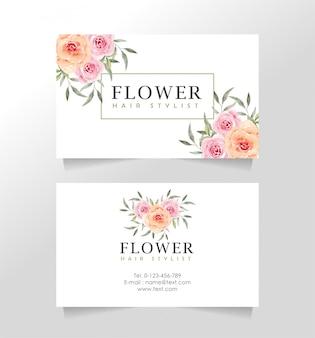 Sjabloon voor visitekaartjes met bloementhema voor bloemist