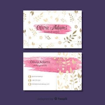Sjabloon voor visitekaartjes met bloementhema