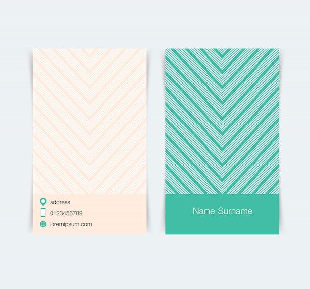 Sjabloon voor visitekaartjes met eenvoudige patroon achtergrond