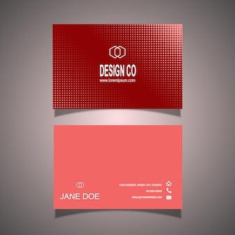 Sjabloon voor visitekaartjes met halftone puntjes ontwerp