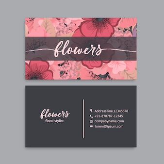 Sjabloon voor visitekaartjes met kleurrijke bloemen