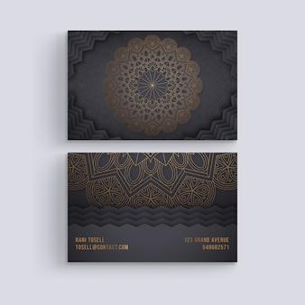 Sjabloon voor visitekaartjes met mandala concept