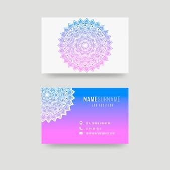 Sjabloon voor visitekaartjes met mandala-ontwerp