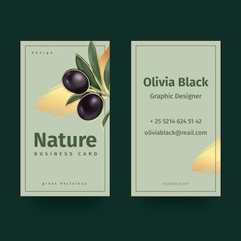 Sjabloon voor visitekaartjes met natuurlijke motieven
