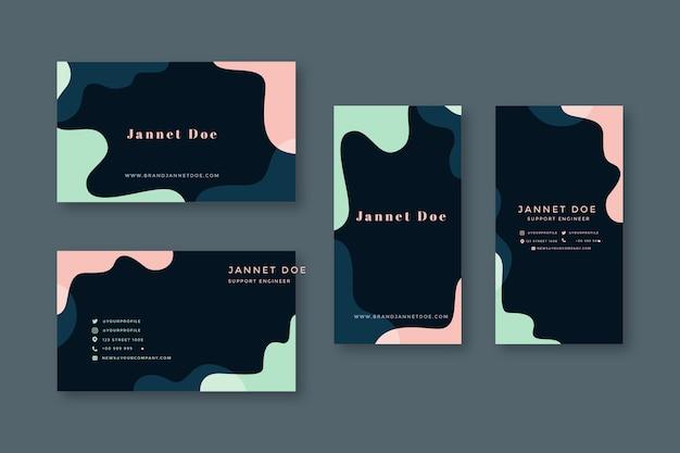 Sjabloon voor visitekaartjes met pastel ontwerpen