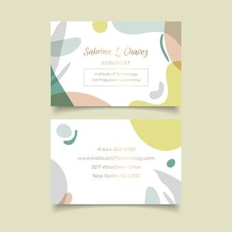 Sjabloon voor visitekaartjes met pastel vormen