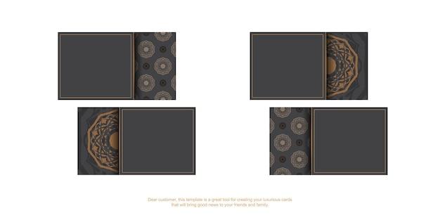 Sjabloon voor visitekaartjes met plaats voor uw tekst en vintage ornamenten. sjabloon voor afdrukontwerp visitekaartjes van grijze kleur met griekse patronen.