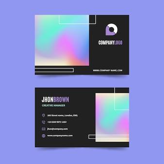 Sjabloon voor visitekaartjes met regenboog kleurovergang