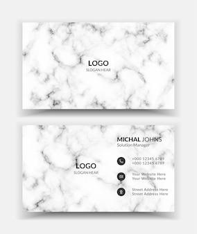 Sjabloon voor visitekaartjes met witte marmeren textuur