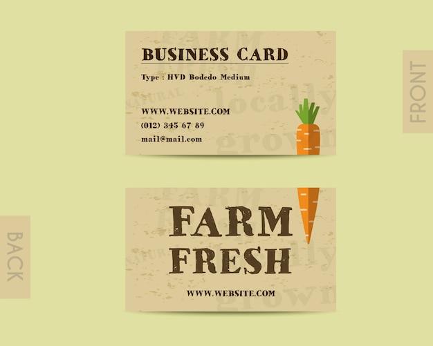 Sjabloon voor visitekaartjes met wortel
