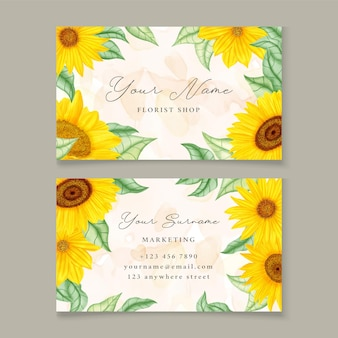 Sjabloon voor visitekaartjes met zonnebloem