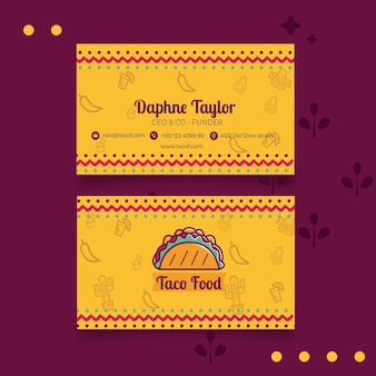 Sjabloon voor visitekaartjes taco food restaurant