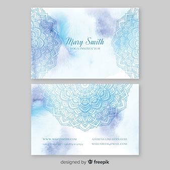 Sjabloon voor visitekaartjes van aquarel mandala