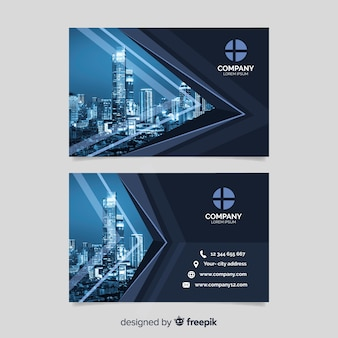 Sjabloon voor visitekaartjes van het bedrijf met foto