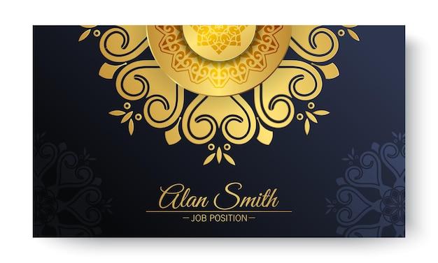Sjabloon voor visitekaartjes van luxe blauwe mandala