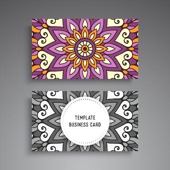 Sjabloon voor visitekaartjes van mandala sier