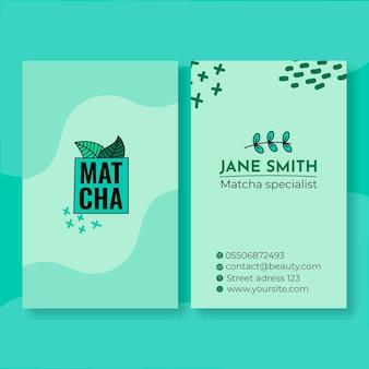 Sjabloon voor visitekaartjes van matcha-thee