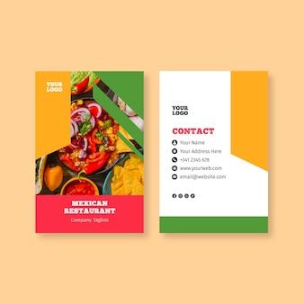 Sjabloon voor visitekaartjes van mexicaans eten