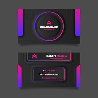 Sjabloon voor visitekaartjes van neumorph-kleurovergang