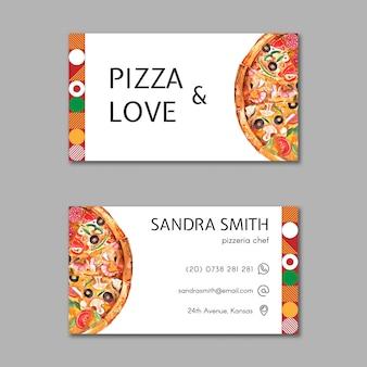 Sjabloon voor visitekaartjes van pizza restaurant