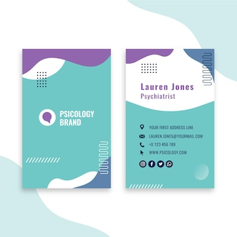 Sjabloon voor visitekaartjes van psychologie advies