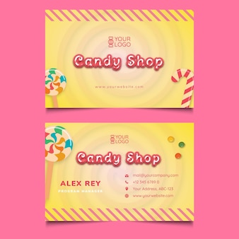 Sjabloon voor visitekaartjes van snoepwinkel