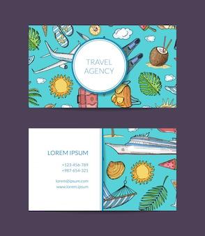 Sjabloon voor visitekaartjes van vakantie- en exotische reizen agentschap