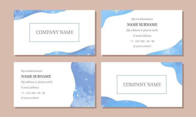 Sjabloon voor visitekaartjes visitekaartje met aquarellen in blauwe tinten