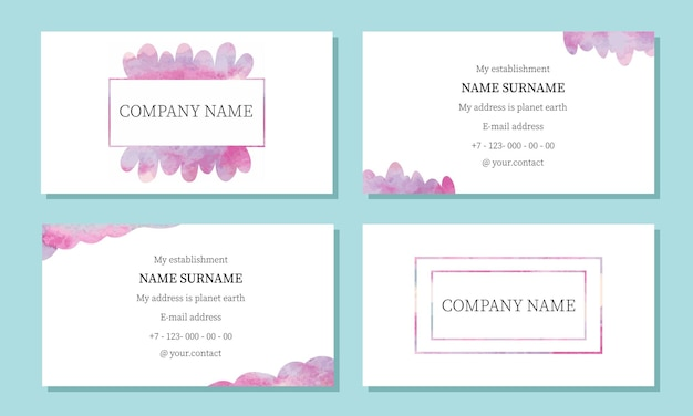 Sjabloon voor visitekaartjes visitekaartje met aquarellen in roze kleuren