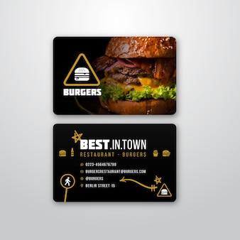 Sjabloon voor visitekaartjes voor burger restaurant