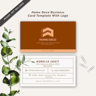 Sjabloon voor visitekaartjes voor huisdecoratie met logo