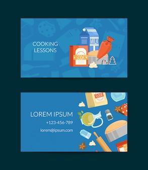 Sjabloon voor visitekaartjes voor kooklessen of supermarkt