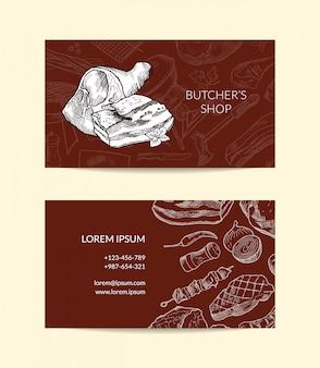 Sjabloon voor visitekaartjes voor slagers winkel met hand getrokken monochroom vlees elementen