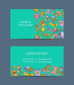 Sjabloon voor visitekaartjes voor winkel, kleuterschool met hand getrokken kind speelgoed elementen