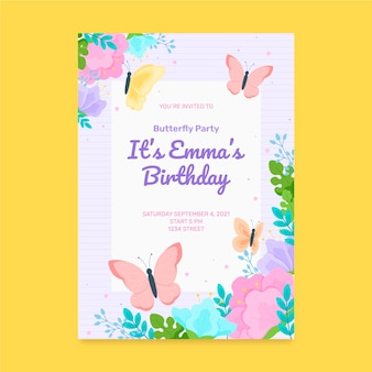 Sjabloon voor vlinder verjaardagsuitnodiging