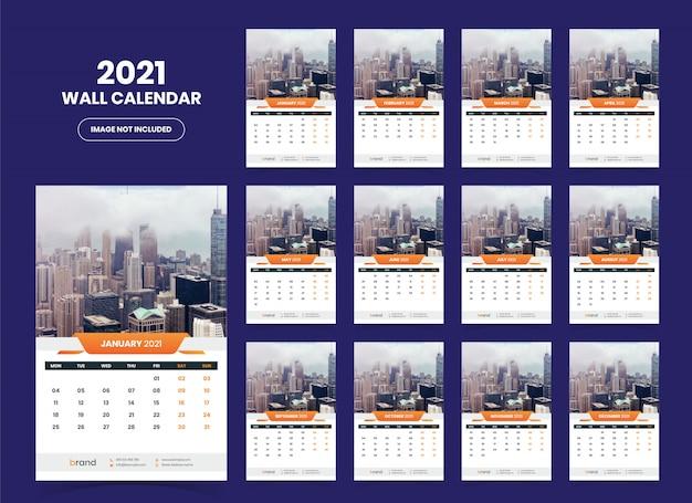 Sjabloon voor wandkalender 2021