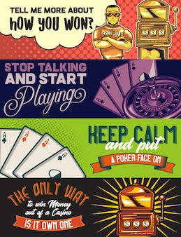 Sjabloon voor webbanner met illustraties van een politieagent, een casino, pocker-kaarten en een gokautomaat.