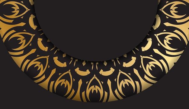 Sjabloon voor wenskaarten zwart met gouden vintage patroon
