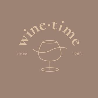 Sjabloon voor wijnbar-logo met minimale illustratie van wijnglas
