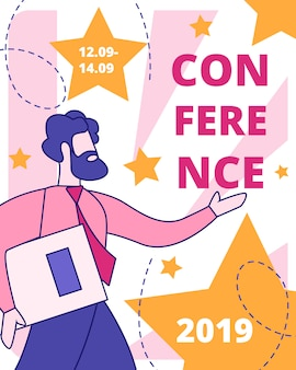 Sjabloon voor zakelijke conferentie platte vector banner