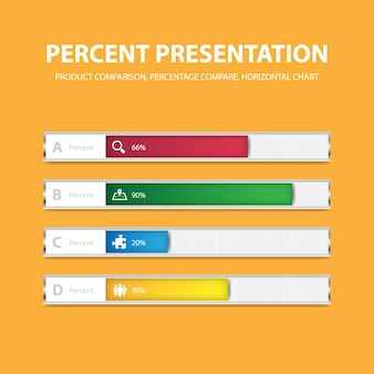 Sjabloon voor zakelijke infographic percentage bar met 4 opties