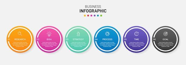 Sjabloon voor zakelijke infographic. zes opties of stappen met pictogrammen en tekst.
