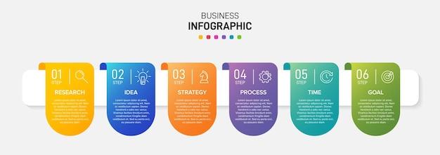 Sjabloon voor zakelijke infographics. zes opties of stappen met pictogrammen en tekst.