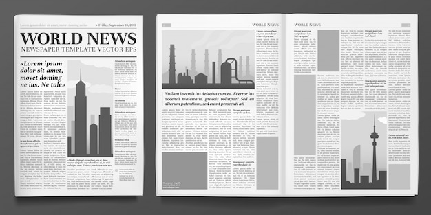 Sjabloon voor zakelijke kranten, financiële nieuwskop, krantenpagina's en financiële tijdschrift geïsoleerde lay-out