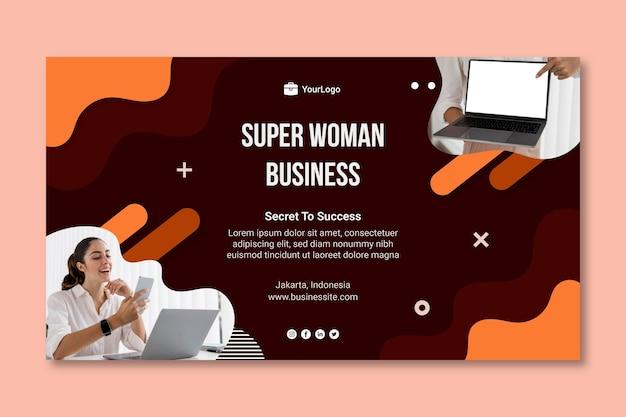 Sjabloon voor zakenvrouw horizontale spandoek